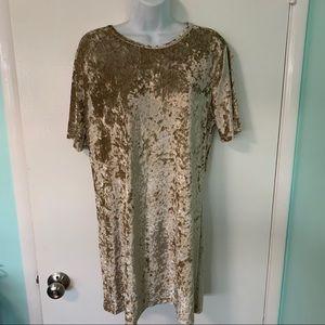 Gold crushed velvet dress szXL Vivimos nwt